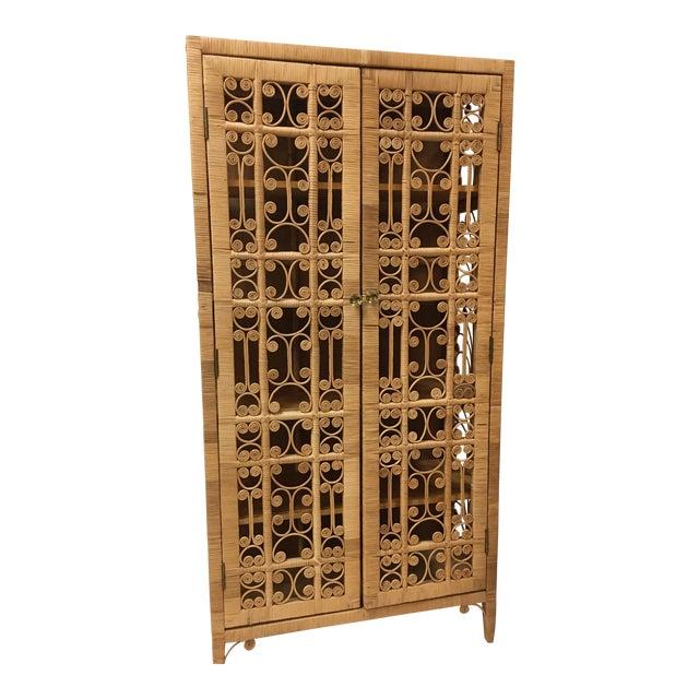 Bohemian Rattan Storage Cabinet For Sale