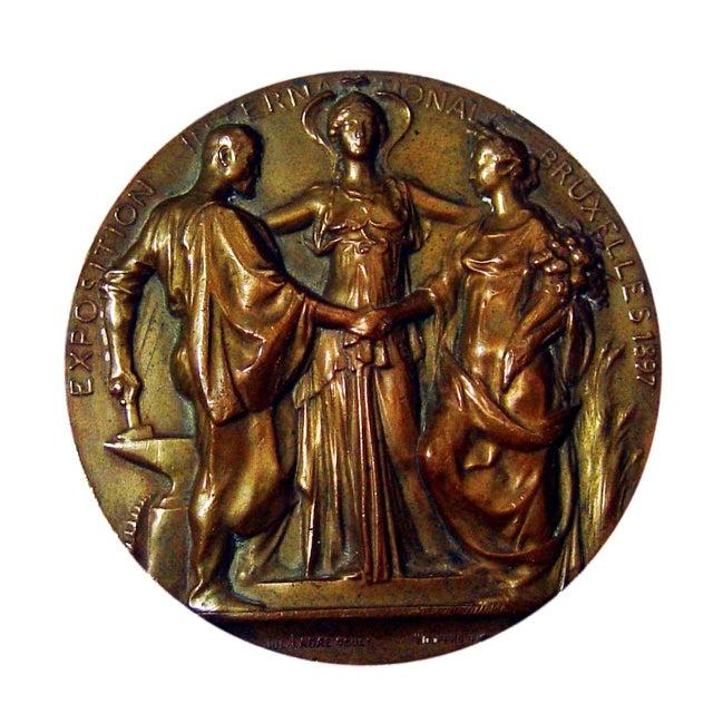 Art Nouveau Bronze Medallion, 1897 For Sale