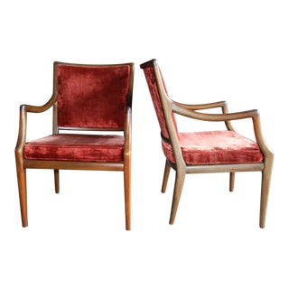 Circa 1960 Style of T.H. Robsjohn-Gibbings Mid-Century Modern Upholstered Armchairs - A Pair For Sale