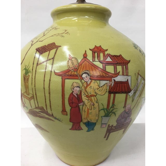 Asian 1960's Hand Painted Chinoiserie Scenery Lamp For Sale - Image 3 of 6