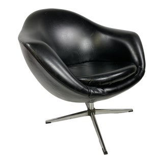 Vintage Modern Black Overman Swivel Pod Chair For Sale