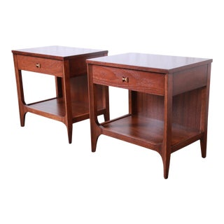 Broyhill Brasilia Mid-Century Modern Sculpted Walnut Nightstands, Newly Restored - a Pair For Sale
