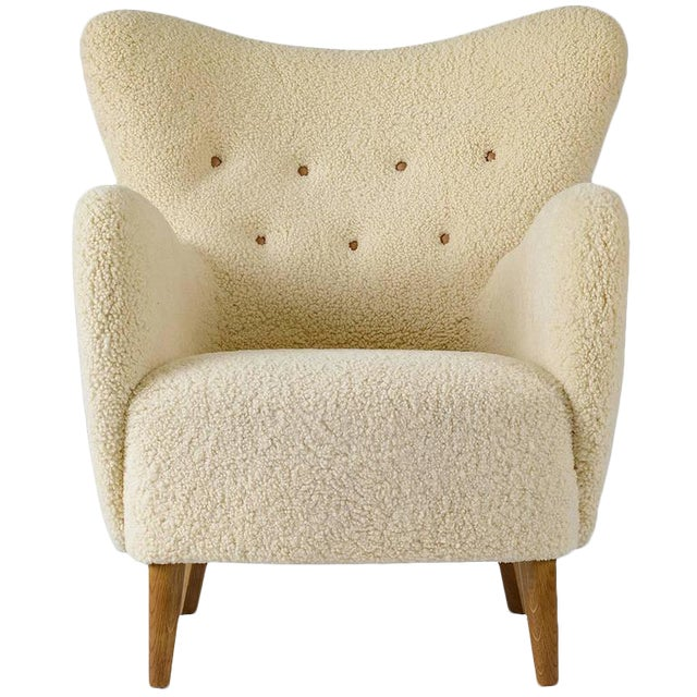 Scandinavian Sheepskin Lounge Chair - Image 1 of 10