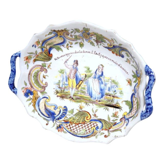 19th Century Hand Painted Oval Platter For Sale