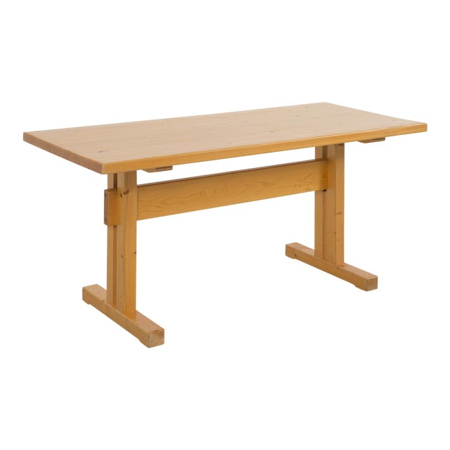 Les Arcs Pine Dining Table by Charlotte Perriand For Sale