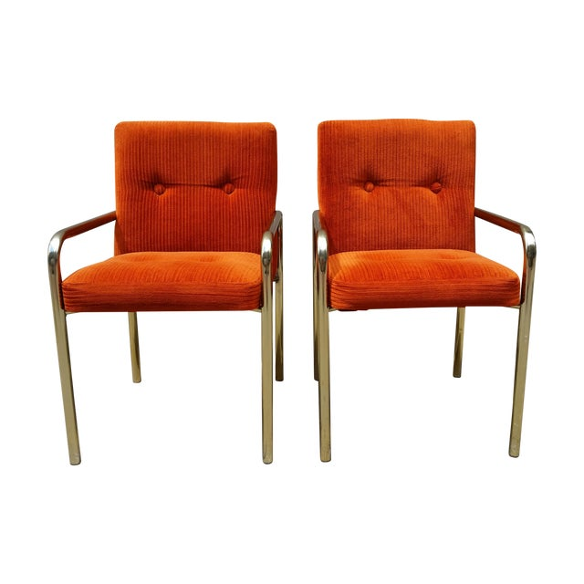 1980 Daystrom Orange Reception Chairs - a Pair - Image 1 of 7
