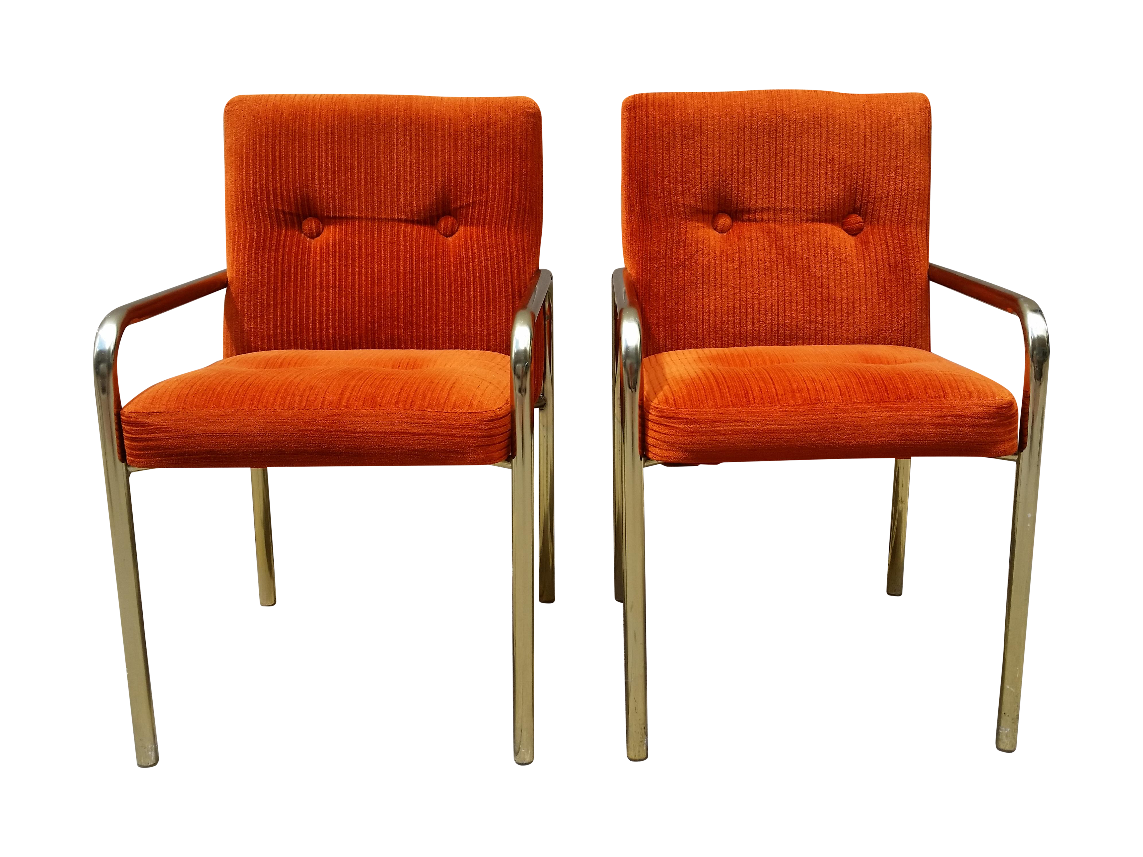 1980 Daystrom Orange Reception Chairs   A Pair