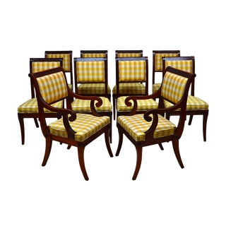 Early 20th Century Vintage Baker Solid Mahogany Regency Dining Chairs- Set of 10 For Sale
