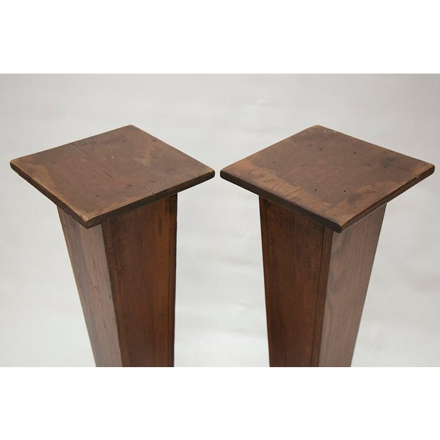 EARLY 1900'S HAND CARVED WOODEN PEDESTALS For Sale - Image 5 of 7