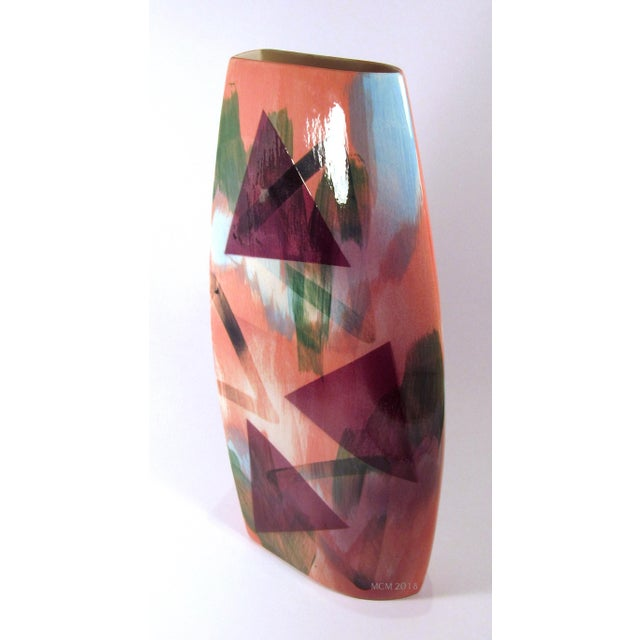 Abstract Vintage 1989 John Bergen Studio Ceramic Vase For Sale - Image 3 of 12