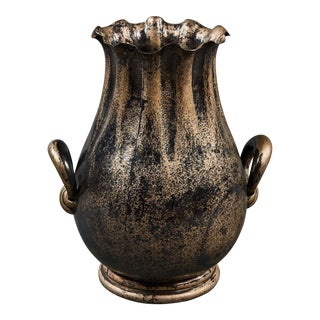A Uniquely Shaped Silver Italian Vase For Sale