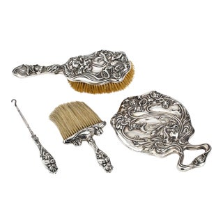 Dresser Vanity Set, Art Nouveau Sterling Silver For Sale