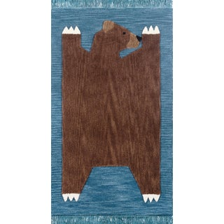 Novogratz by Momeni Atticus Teddy in Navy Rug - 5'X7' For Sale