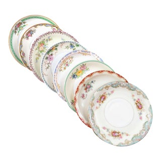 Vintage Mismatched Fine China Saucers - Set of 8