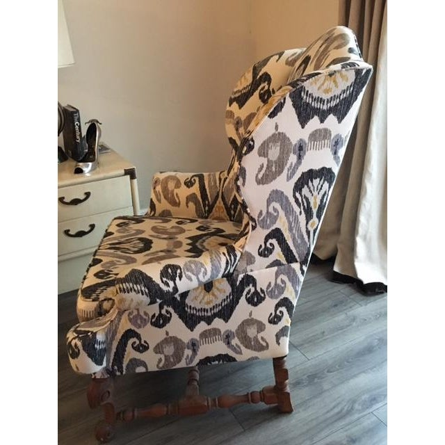Antique Boho Ikat Wingback Chair - Image 4 of 6