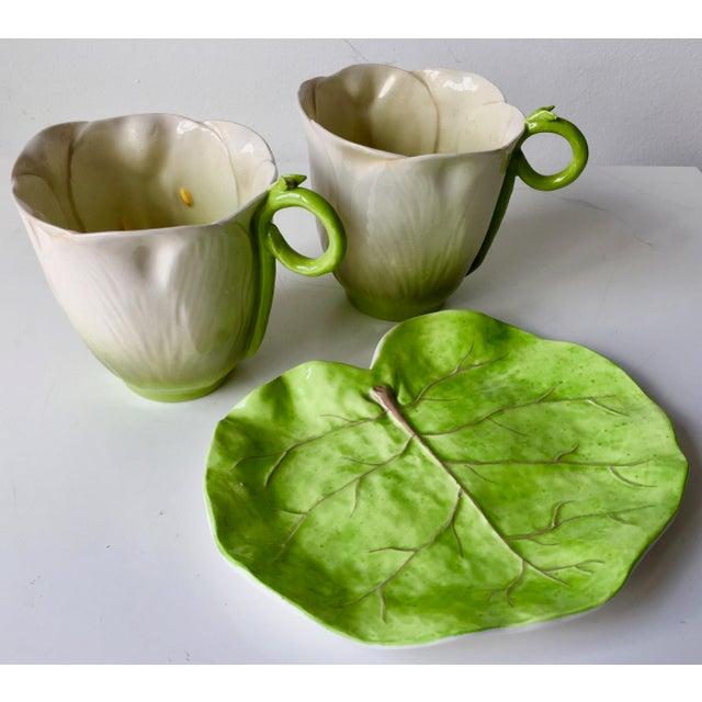 Ceramic Italian Leaf Dish & 2 Porcelain Flower Cups For Sale - Image 7 of 10