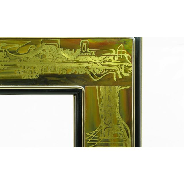 Gold Mastercraft Bernhard Rohne Acid-Etched Brass Table For Sale - Image 8 of 9