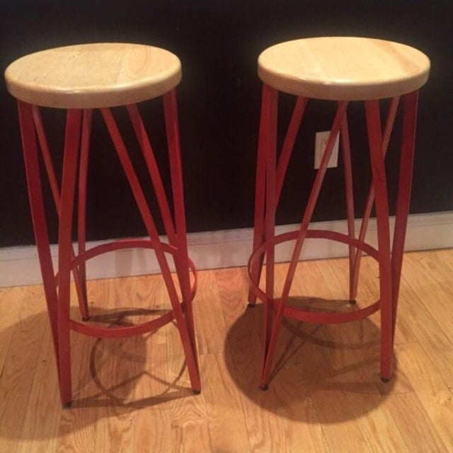 A set of 2 beautiful bar stools at a great deal from RH!