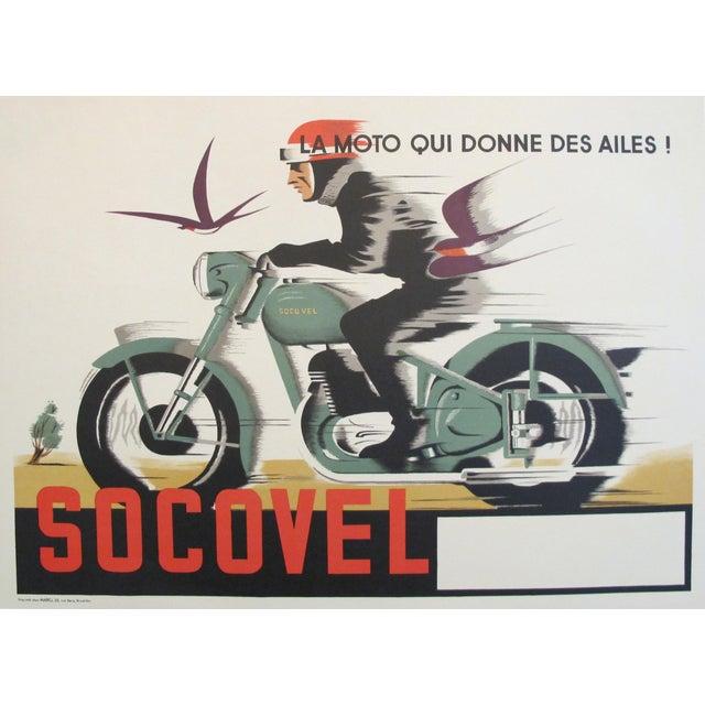 1940s Belgian Art Deco Motorcycle Poster - Image 1 of 5