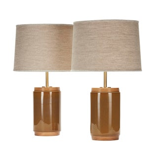 Porter Lamp in Buff With White Oak Details - a Pair For Sale