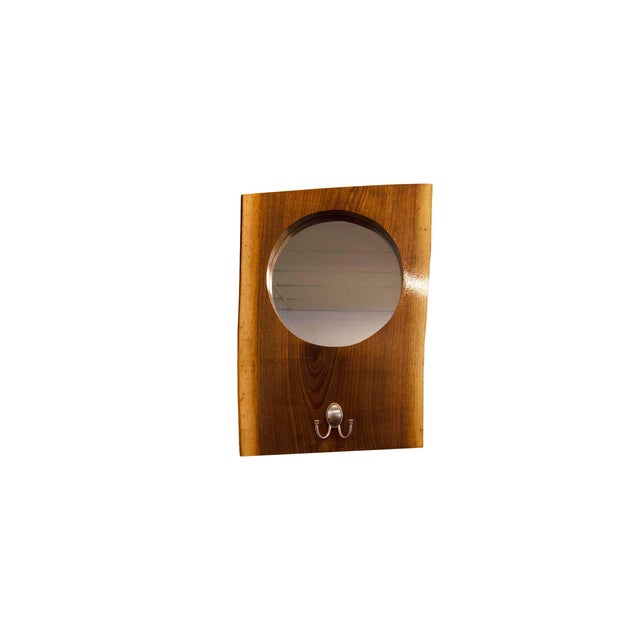 Brown Live Edge Walnut Slab Coat Hanger With Mirror For Sale - Image 8 of 8