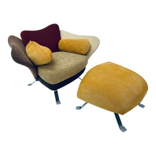 Giorgio Saporiti for Il Loft Flower Chair and Ottoman For Sale