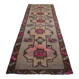 Hand Knotted Turkish Runner Rug - 4′3″ × 13′4″