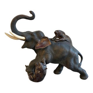 Japanese Meiji Period (1868 - 1912) Bronze Sculpture of Elephant and Tigers For Sale