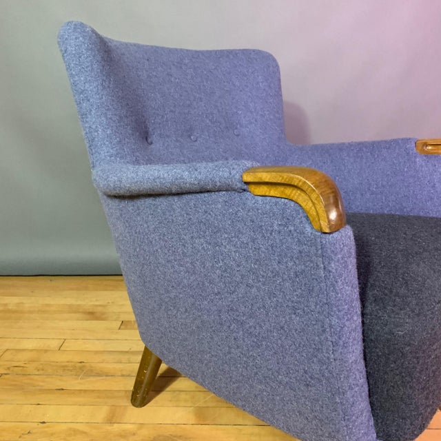 Gray 1950s Danish Armchair, New Kvadrat Felted Wool Upholstery For Sale - Image 8 of 11