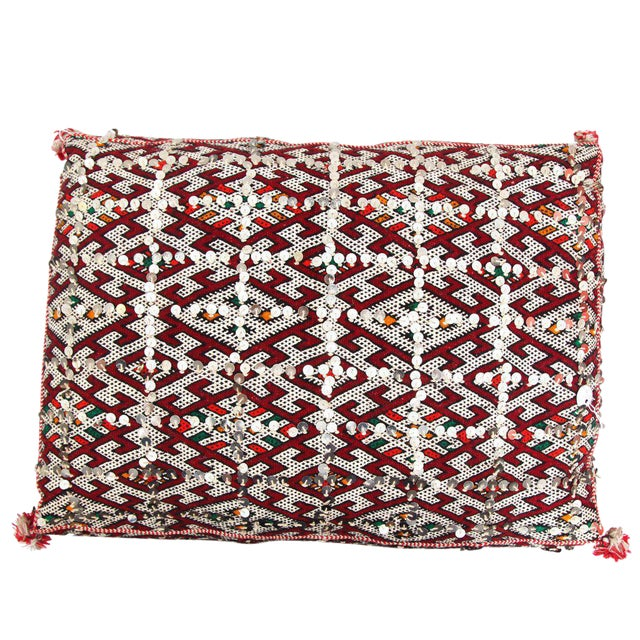 Moroccan Handmade Handira Red Cushion with Sequins - Image 1 of 2