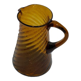 Vintage Amber Twisted Ribbed Glass Pitcher For Sale