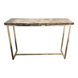Interlude Home Modern Bone and Chrome Console Table For Sale
