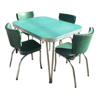 1960s Mid Century Retro Chrome Formica Dining Set For Sale
