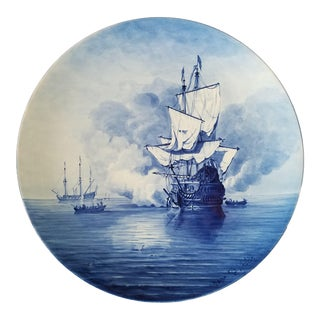 Antique Royal Delft Hand Painted Charger For Sale