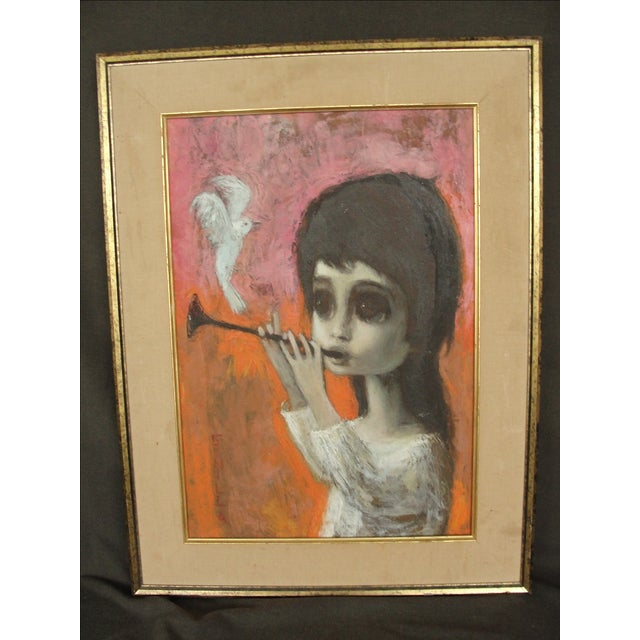 Mid-Century Original Big Eye Painting by Gunilla - Image 7 of 11