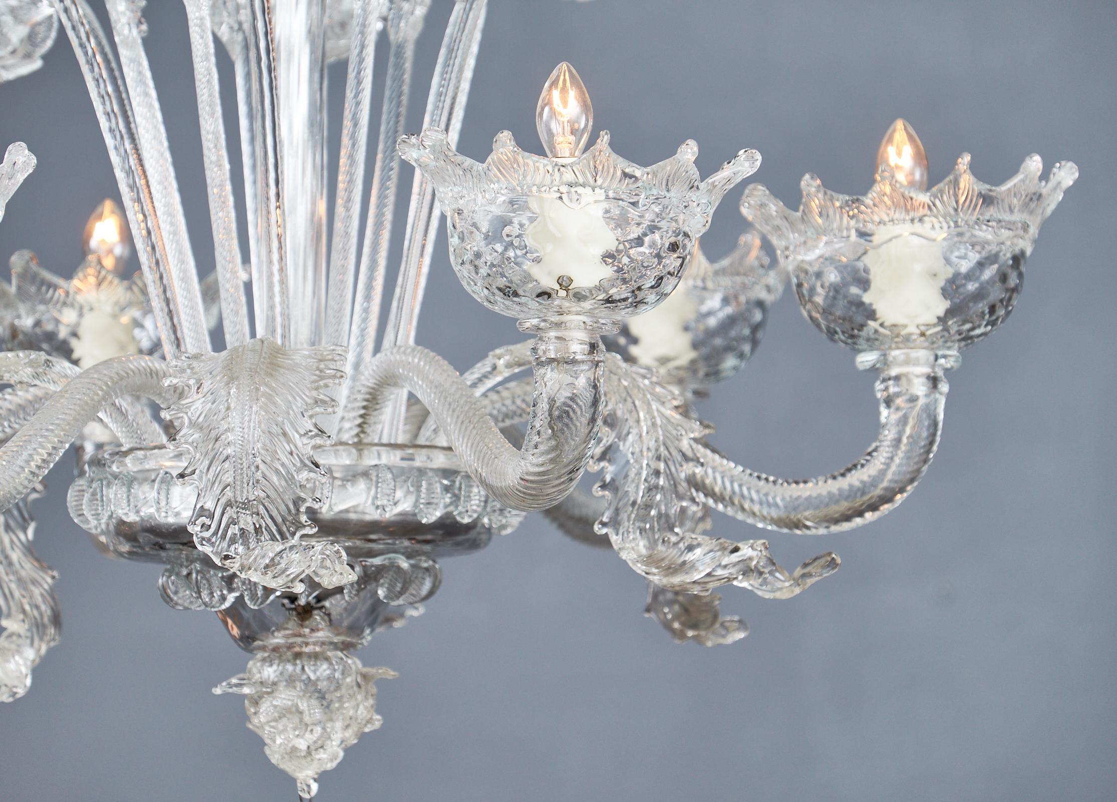 Superb Italian Vintage Murano Glass Chandelier Decaso