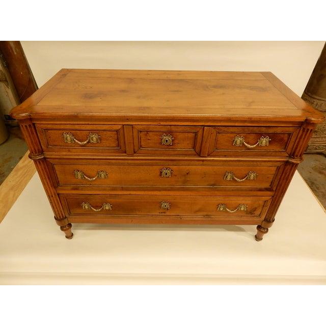 Beautifully restored 3 drawer walnut 19th. century French commode.