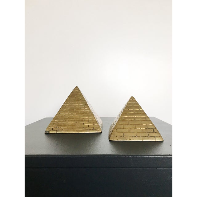 1960s Brass Pyramid Bookends - a Pair For Sale - Image 5 of 5