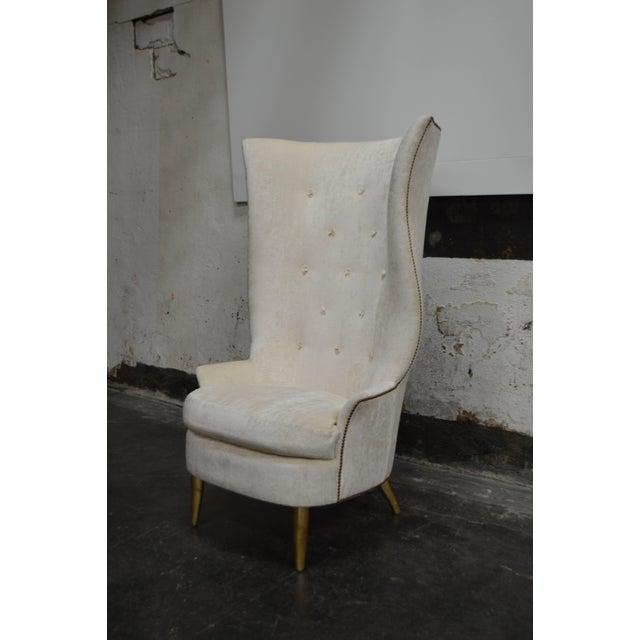 Wood Custom Gudinna Tall Barrel Wing Chair For Sale - Image 7 of 9