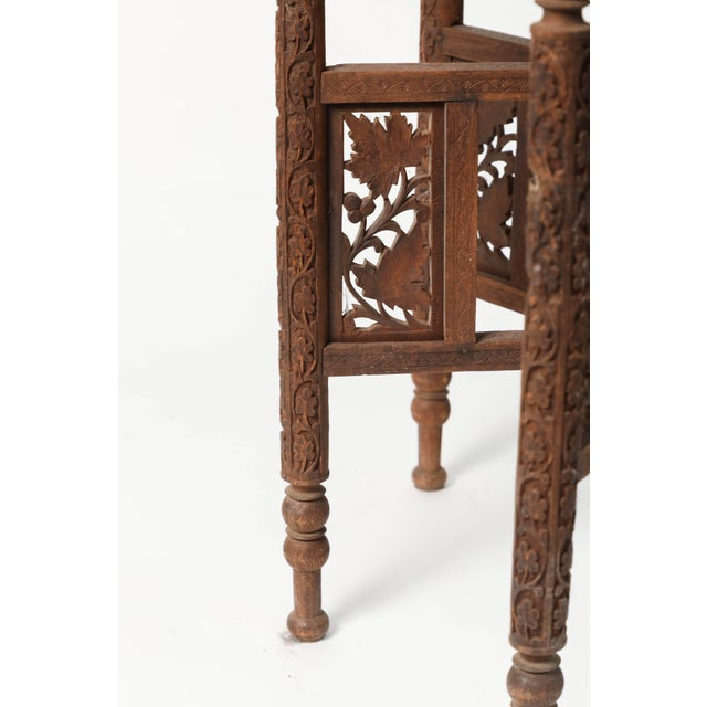 Early 20th Century Middle Eastern Syrian Antique Brass Tray Table With Wooden Folding Stand For Sale In Los Angeles - Image 6 of 9