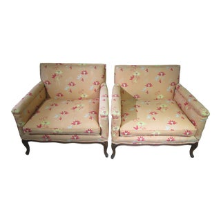 Mid Century Modern French Orange Crewel Upholstered Club Chairs - a Pair For Sale