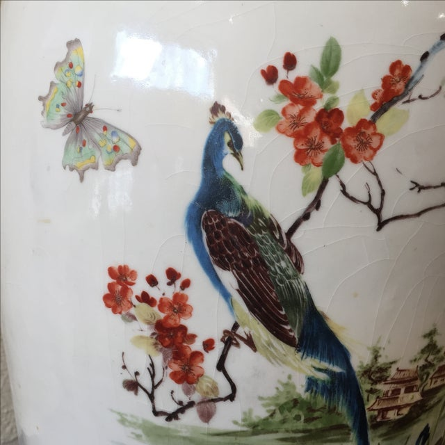 Large Vintage Vase With Peacock - Image 3 of 7