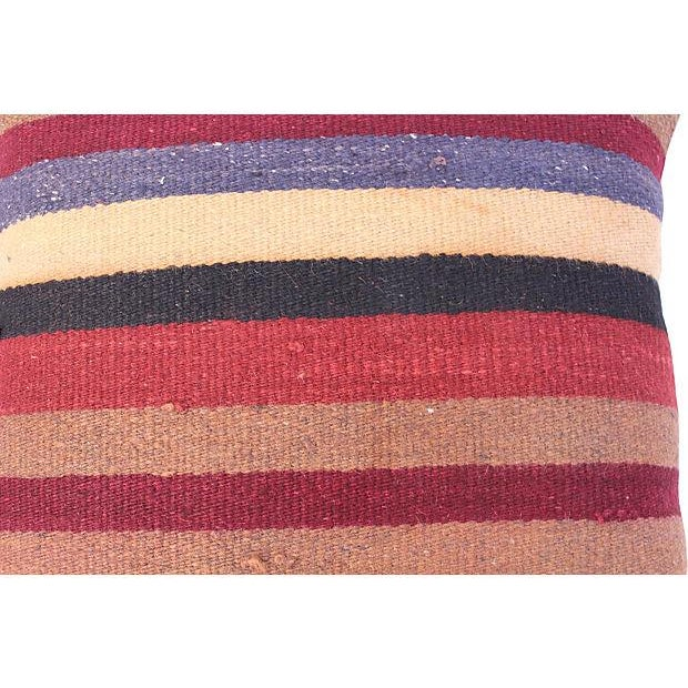 Striped Turkish Kilim Pillow For Sale - Image 4 of 4