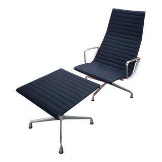 Modern Eames for Herman Miller Aluminum Series Lounge Chair and Ottoman For Sale