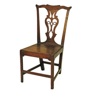 1770 English Georgian Country Oak Side Chair For Sale
