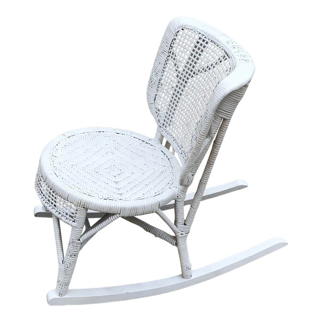 Early 20th Century Antique White Wicker Rocking Chair For Sale