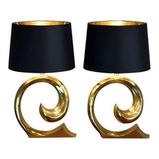 Solid Brass Swoosh 'Pierre Cardin' Lamps by Erwin Lambeth - a Pair