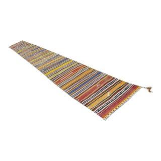 1970s Vintage Turkish Kilim Striped Runner Rug - 2′5″ × 21′4″ For Sale