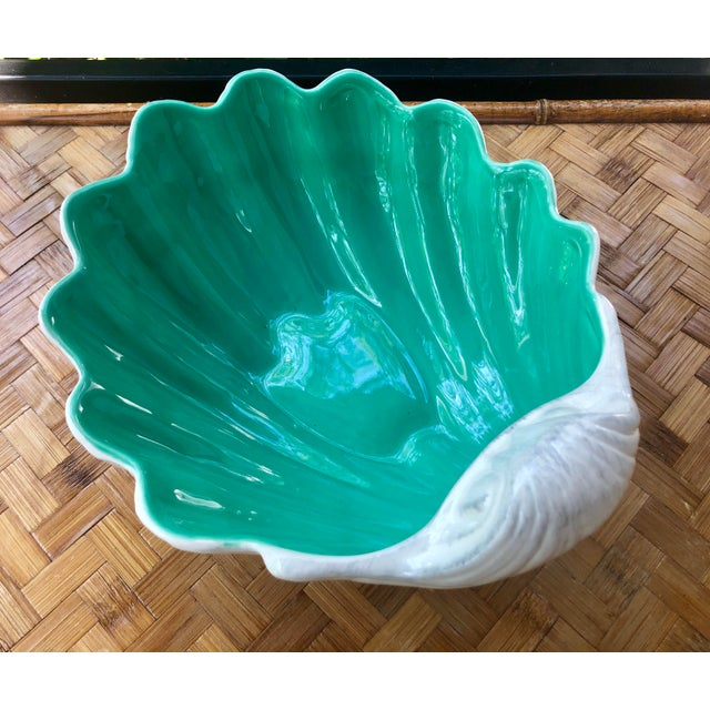 Large Portuguese Ceramic White Shell Planter Catchall Bowl For Sale - Image 11 of 11