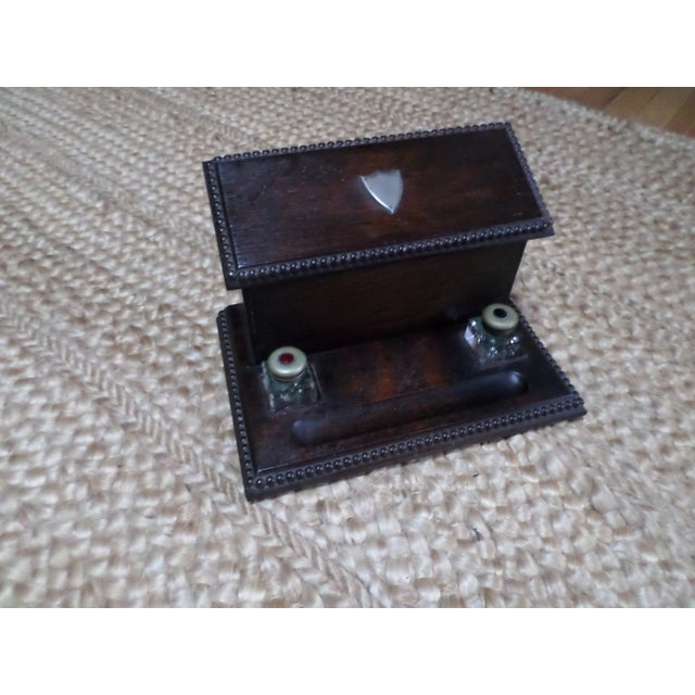 English Oak Letterbox and Inkstand For Sale - Image 13 of 13